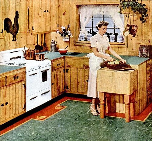 Old Knotty Pine Cabinets: The 1950's Cabin Kitchen.