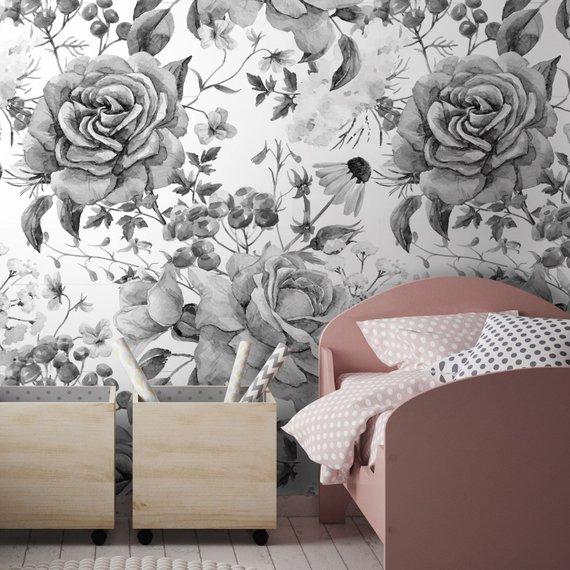 Flowers Roses Wallpaper Floral Wallpaper Black And White Etsy Wallpaper Pink And White Floral Wallpaper Peony Wallpaper