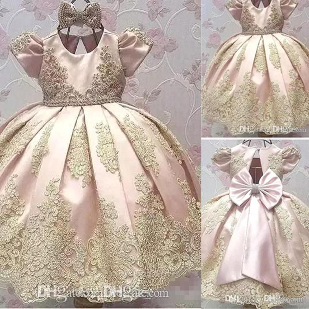 Simple Wedding Dress For Godmother: Blush Pink Ball Gown 2018 Flower Girls Dresses For