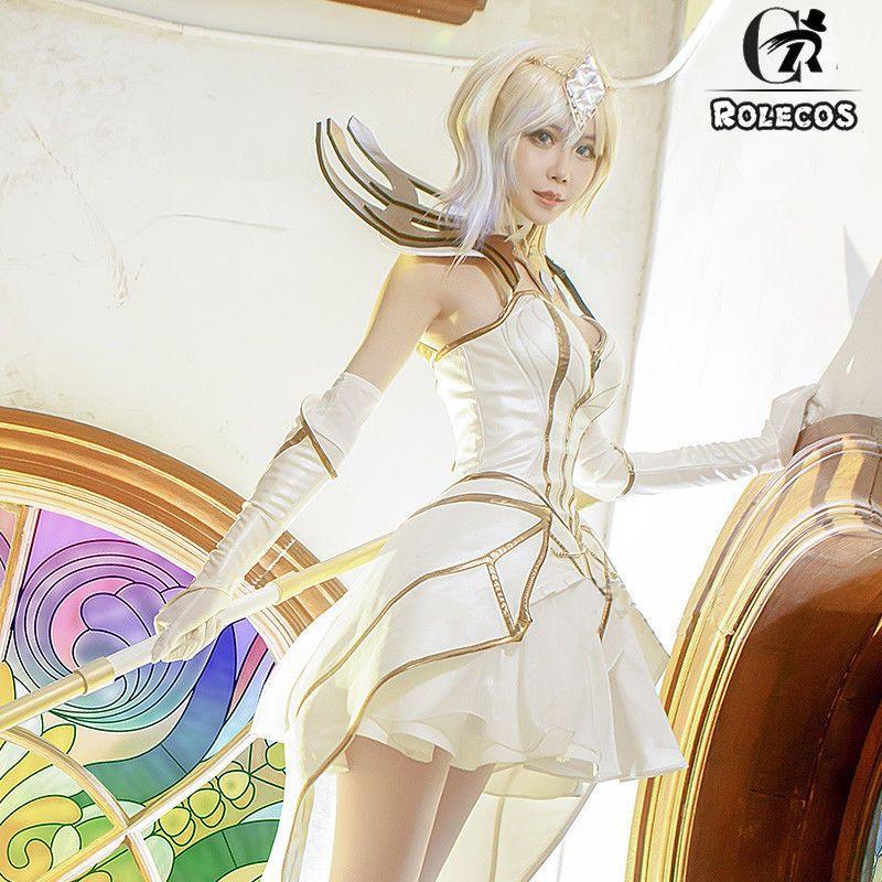 LOL Elementalist Lux The White Dress Cosplay Costume Full Set