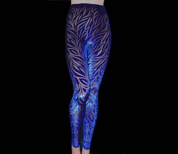 51fd2bc441 Leggings Tights Royal Blue Burnout Velvet On Black Sheer Stretch ...