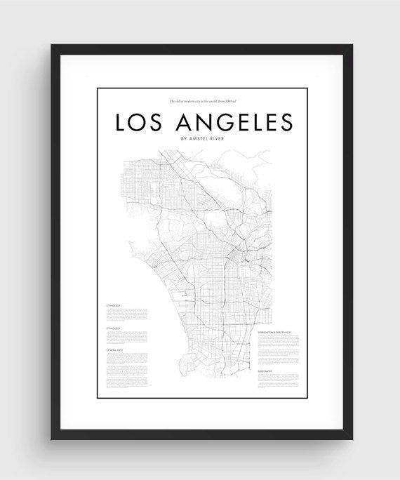 Minimal Los Angeles Map Poster Black White Minimal Print Etsy Los Angeles Map Map Poster Los Angeles Poster