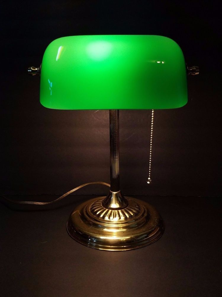 Vtg Green Gl Shade Br Metal Bankers Office Desk Table Lamp Light Swivel