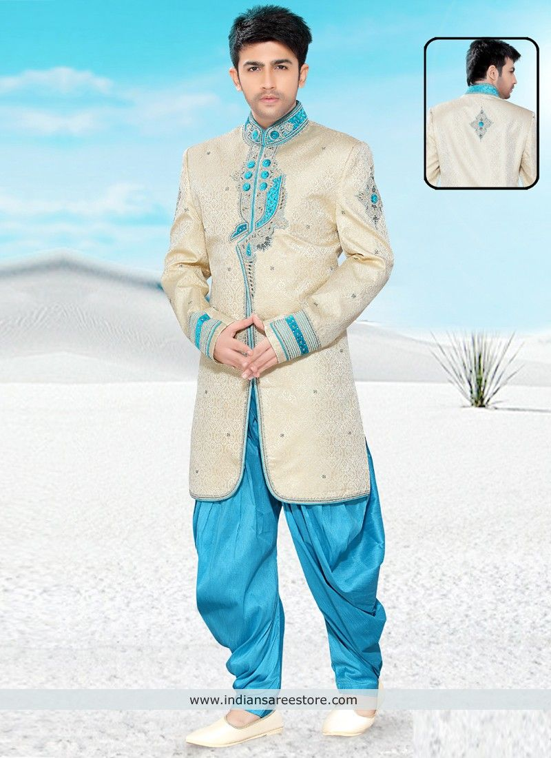 Beige And Sky Blue Banarasi Silk Embroidered Work Designer Wedding ...
