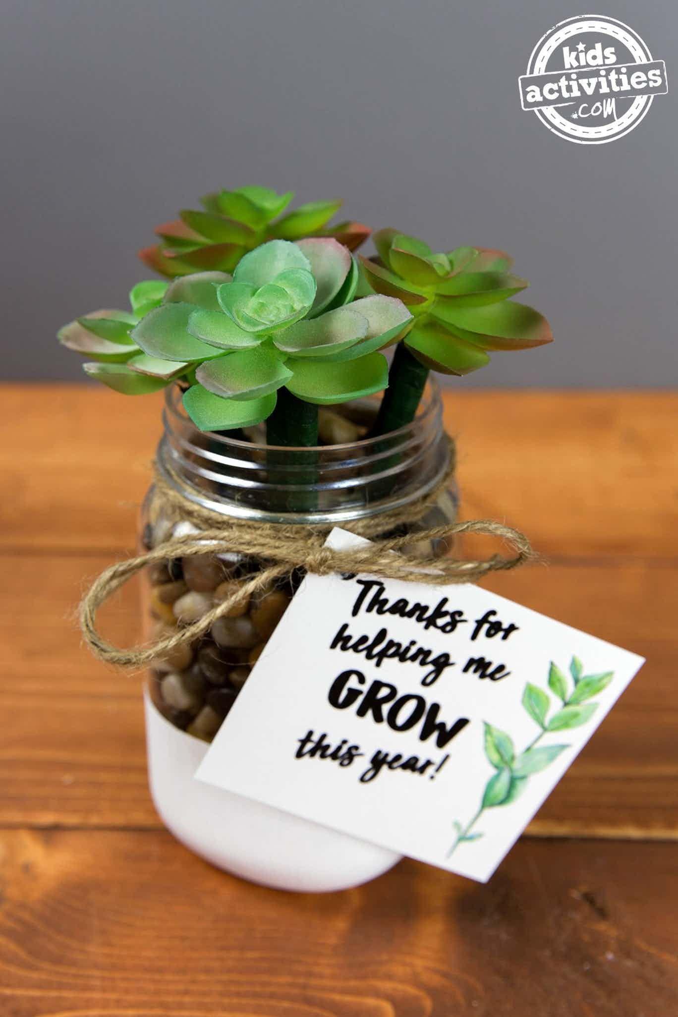 Succulent Pens Teacher Appreciation Gift #teachersdaycard