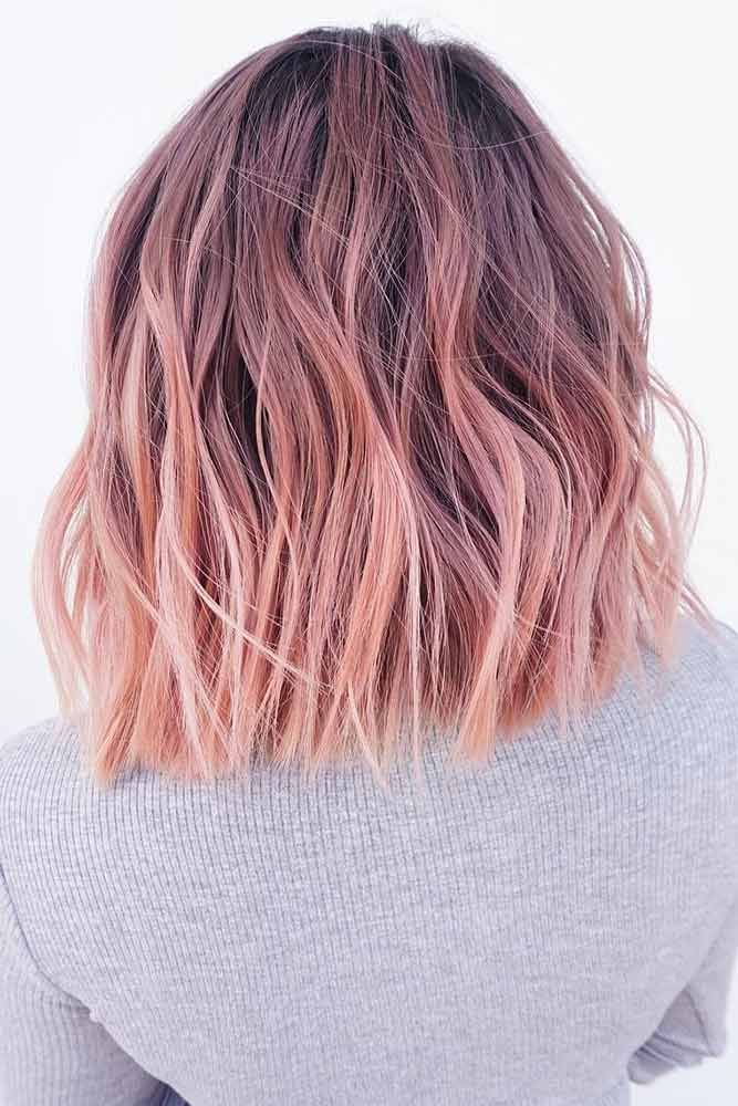 Nobles Pastellrosa Ombre #pinkhair #ombre Rose ombre mit dunklen Wurzeln, perf…