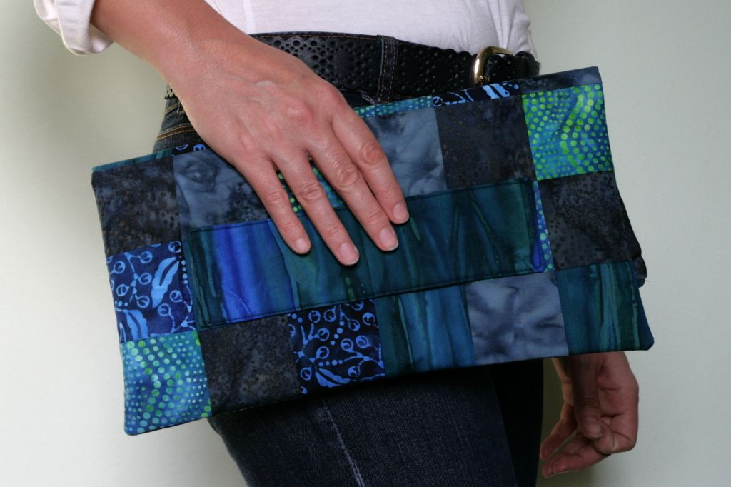 Listová kabelka modrý patchwork