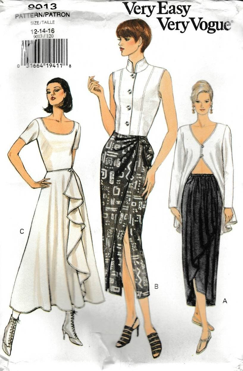 Flared Skirt in Knee or Evening Length Sewing Pattern Vogue 9246 Close-fit Top