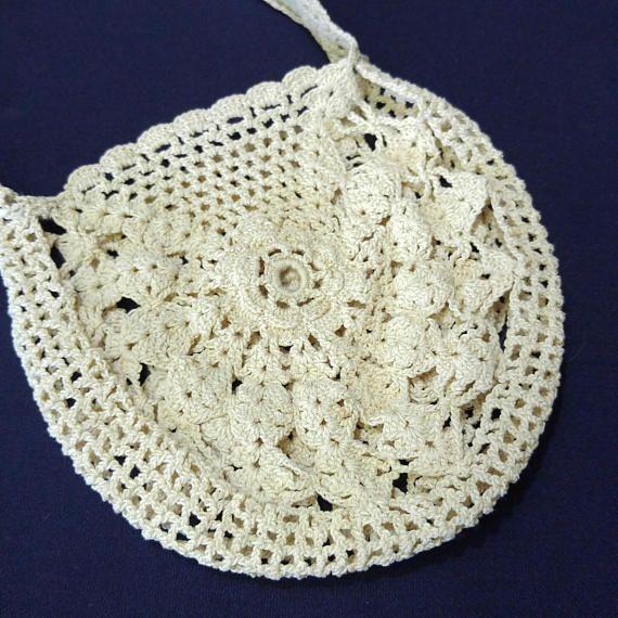 Mini Crochet Purse Ecru Off-White Dainty Bridal Accessory Bag