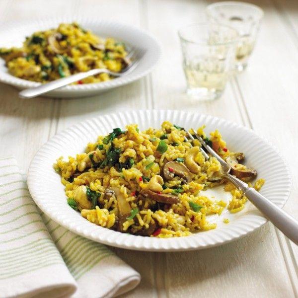 Mushroom, Spinach and Carrot Biryani