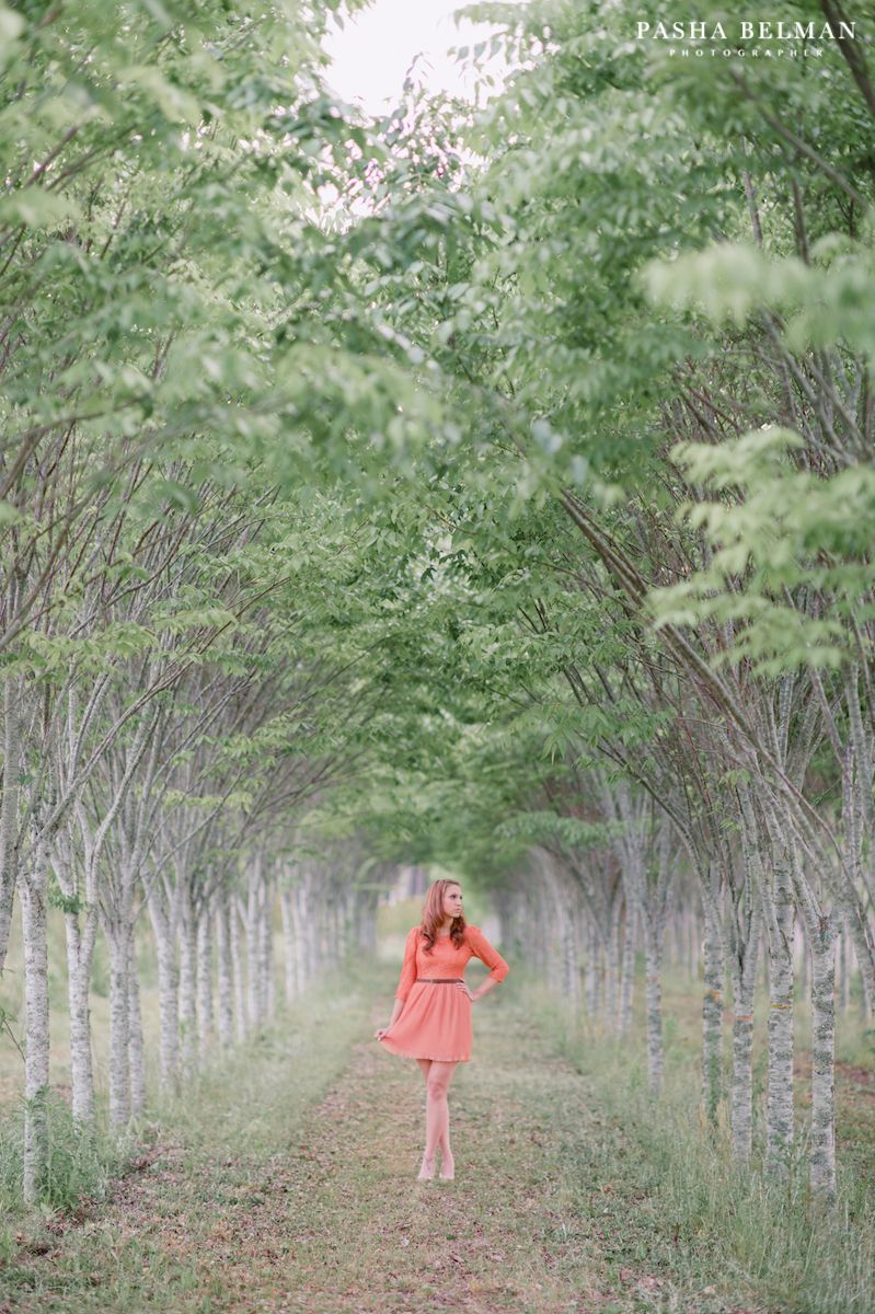 senior picture ideas for girls. coral dress, green garden, beautiful ...