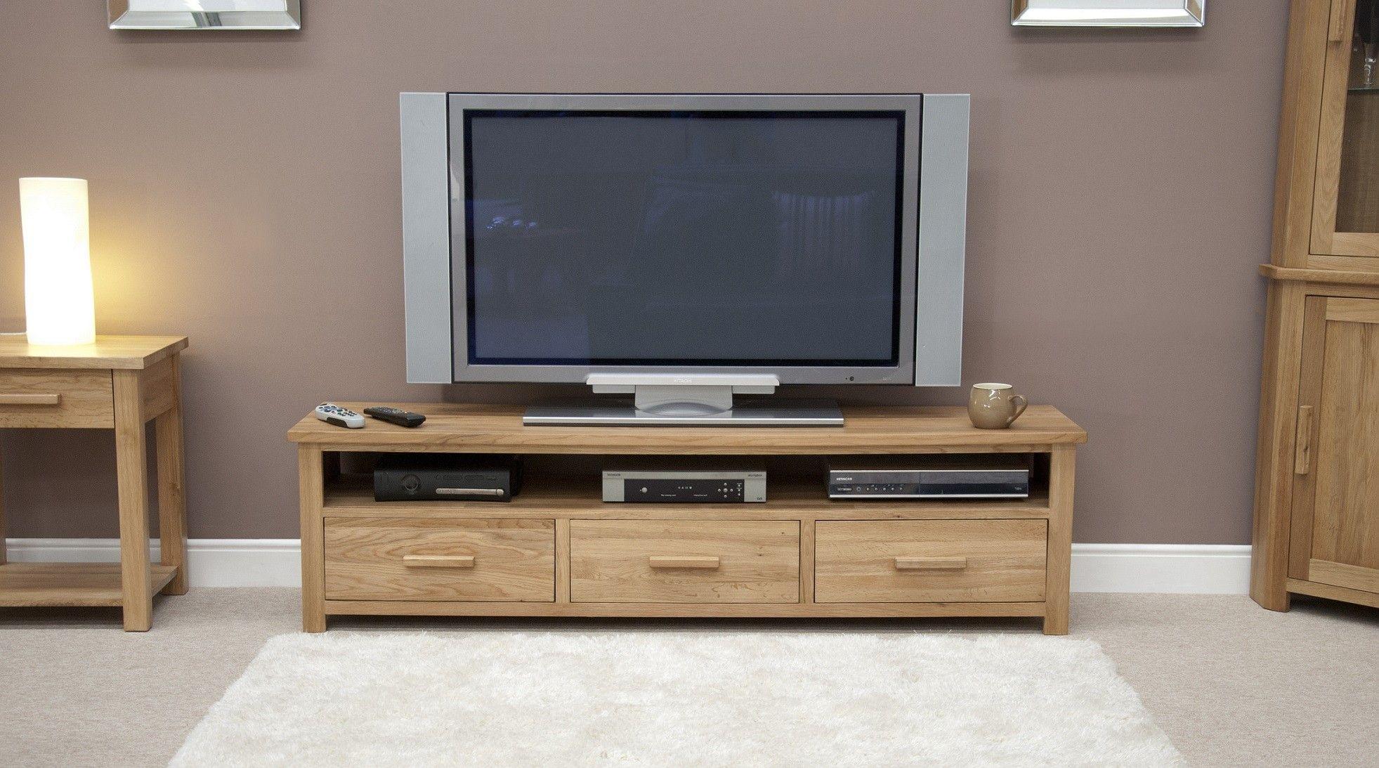 Opus Solid Oak Wide Plasma Tv Unit Tv Unit Furniture Bedroom Tv Unit Design Solid Oak Furniture