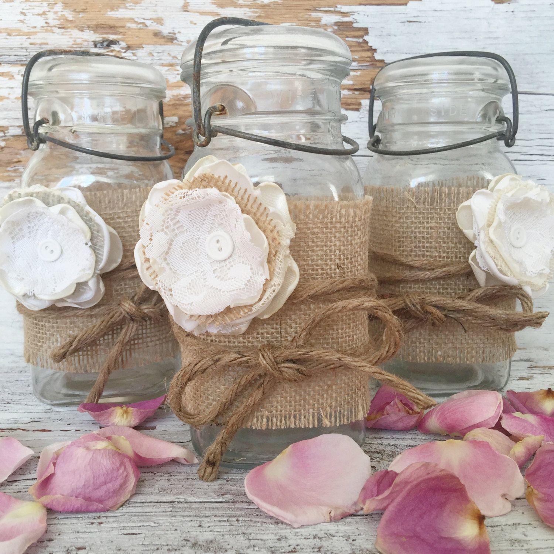 Boho Chic Baby Shower Decorations Burlap Mason Jar Wrap Kit For 5 Jars Diy Baby Shower Centerpieces Burlap Mason Jars Flowers In Jars Mason Jar Centerpieces