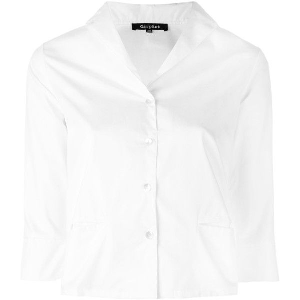 Garpart Cropped Shirt ($190) ❤ liked on Polyvore featuring tops, cotton crop top, white shirts, white cotton tops, crop shirt and shirt top