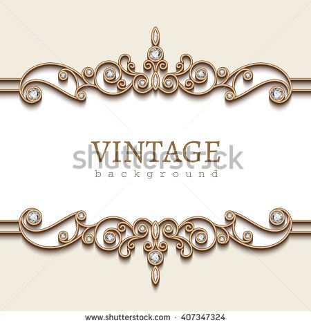 Vintage Gold Frame On White Divider Element Elegant Vector Background With Jewelry Gold Borders Eps10 Silver Ring Designs Jewelry Card Gold Frame