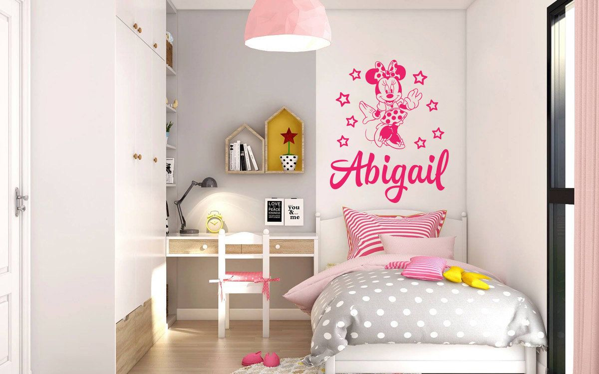 Minnie Mouse Wall Decal Personalized Baby Name Decor ...