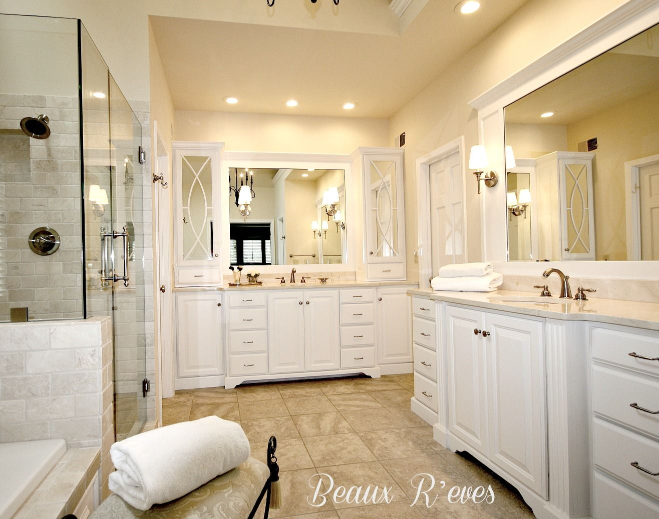 Bathroom Makeovers With White Cabinets beaux r'eves: glam master bath remodel | bathroom | pinterest