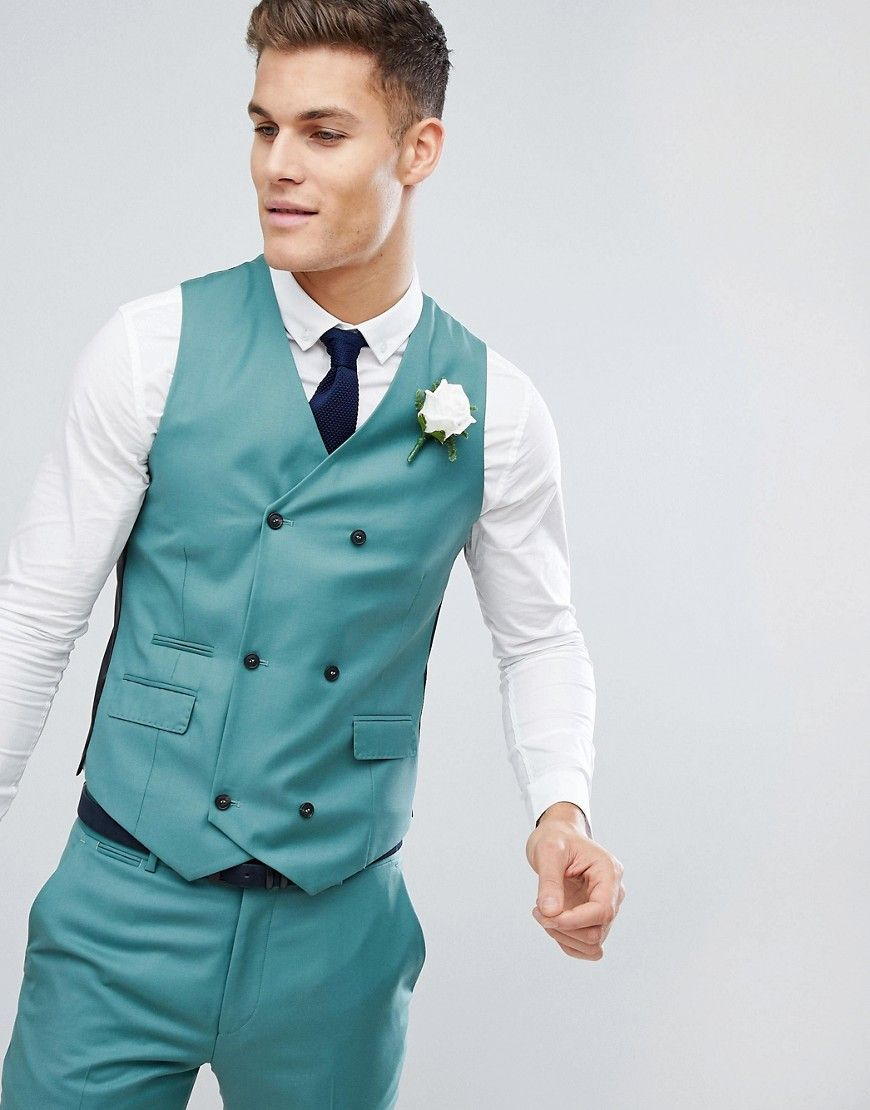 Wedding Slim Suit Vest In Pine Green 100% Wool | Products