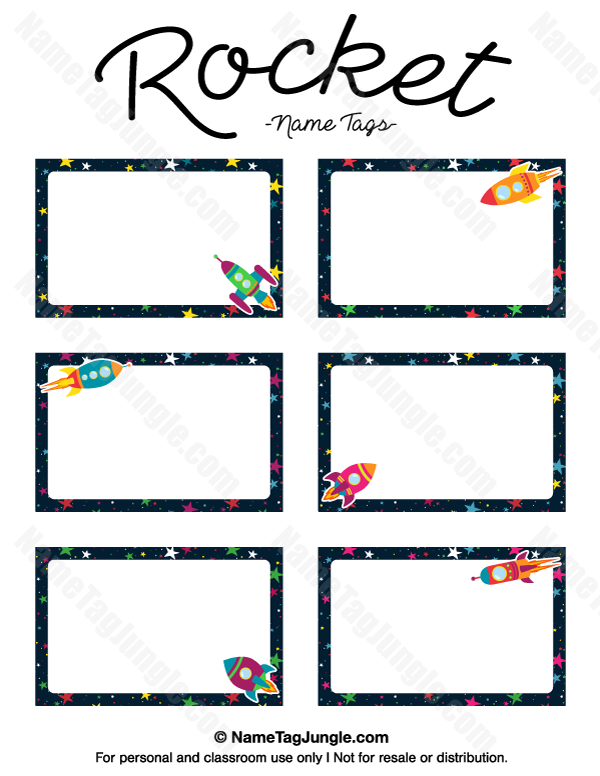 Free Printable Rocket Name Tags The Template Can Also Be Used For Creating Items Like Labels A Name Tag For School Name Tag Templates School Labels Printables