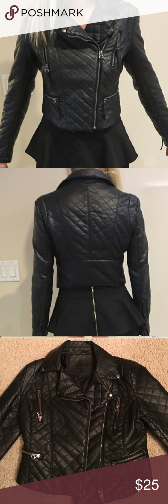 Cropped Quilted Vegan Leather Moto Jacket Vegan leather