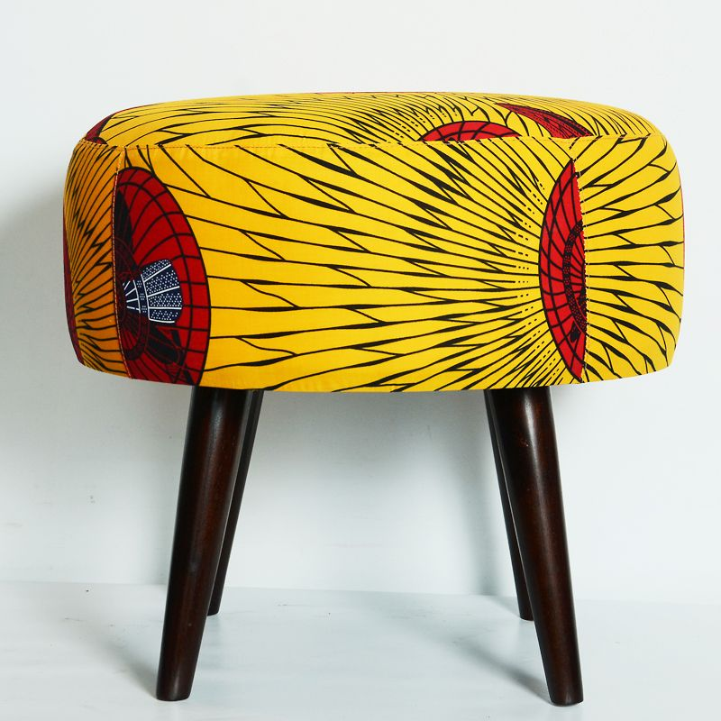 contemporary african wax print cotton ottoman with desk fan motif and overall design. Black Bedroom Furniture Sets. Home Design Ideas