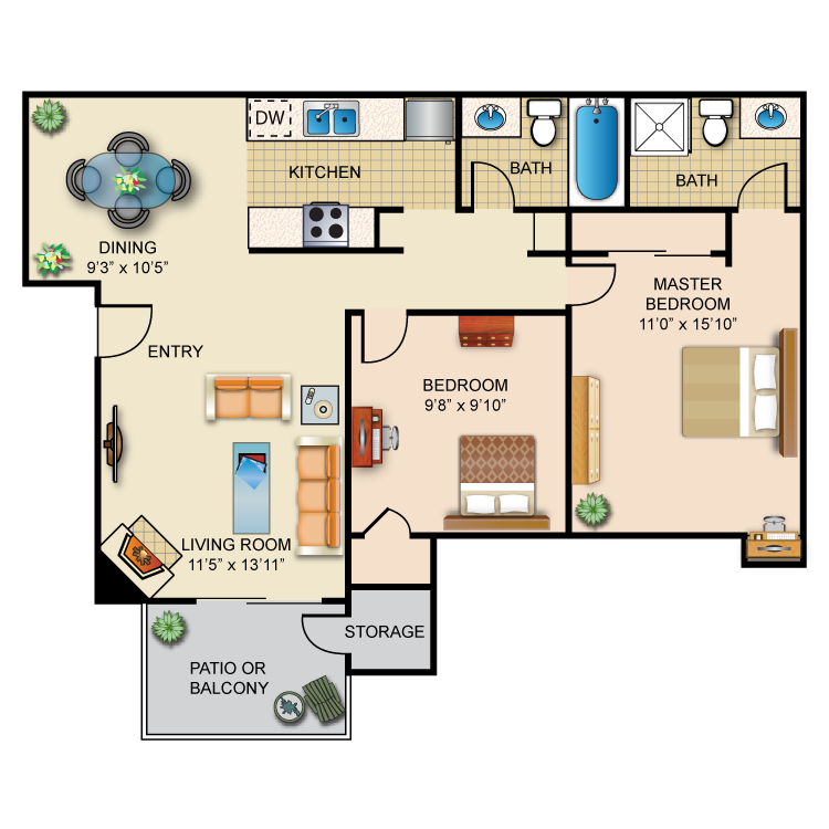 "Mountain Crest Apartments: 900 Sq Ft Of Our ""CREST"" Floor Plan Offers You: Master"