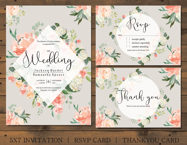 d874f1d6c727 Watercolor Floral wedding invitation