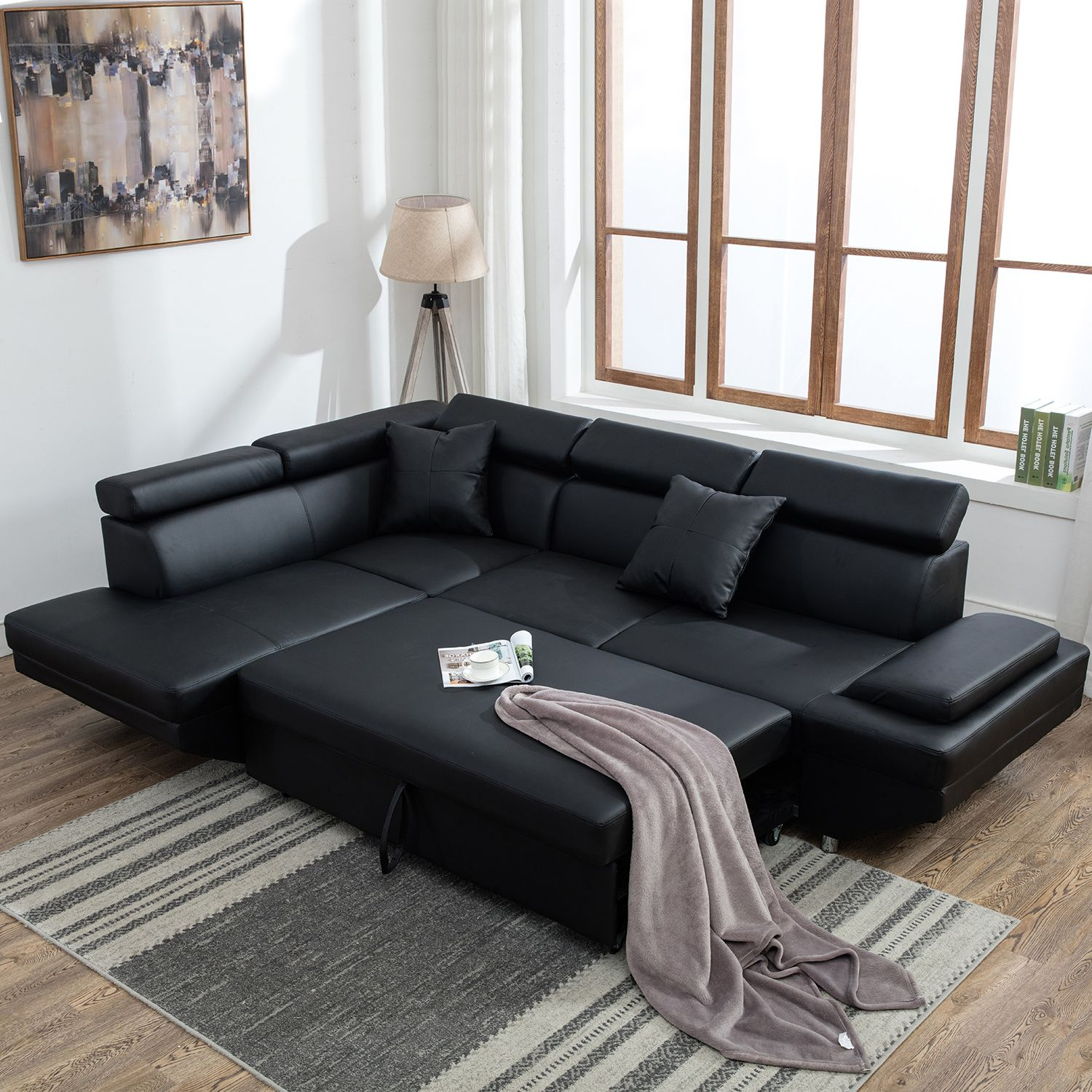 Contemporary Sectional Modern Sofa Bed Black With Functional Armrest Back L Walmart Com Sectional Sofas Living Room Futon Sofa Contemporary Sofa