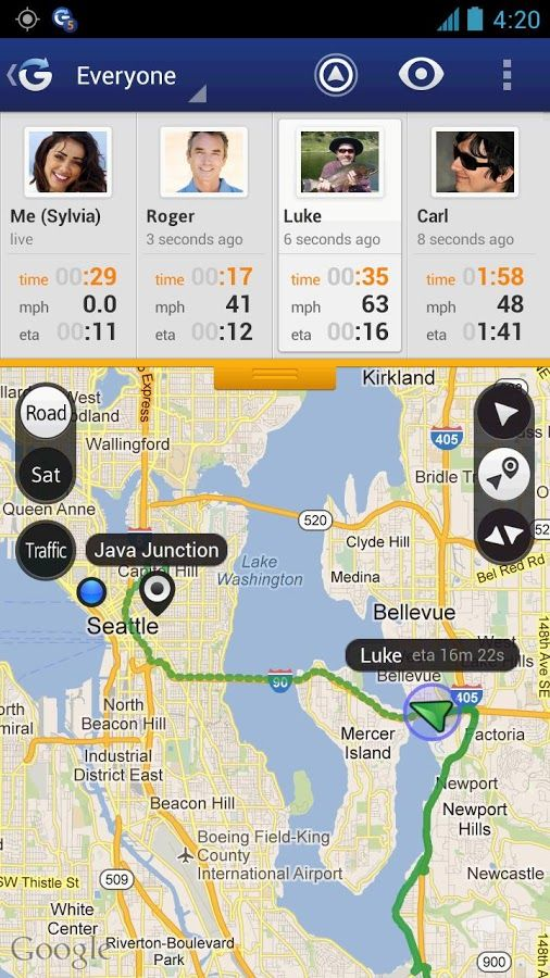 Glympse send live gps tracking to friends and family
