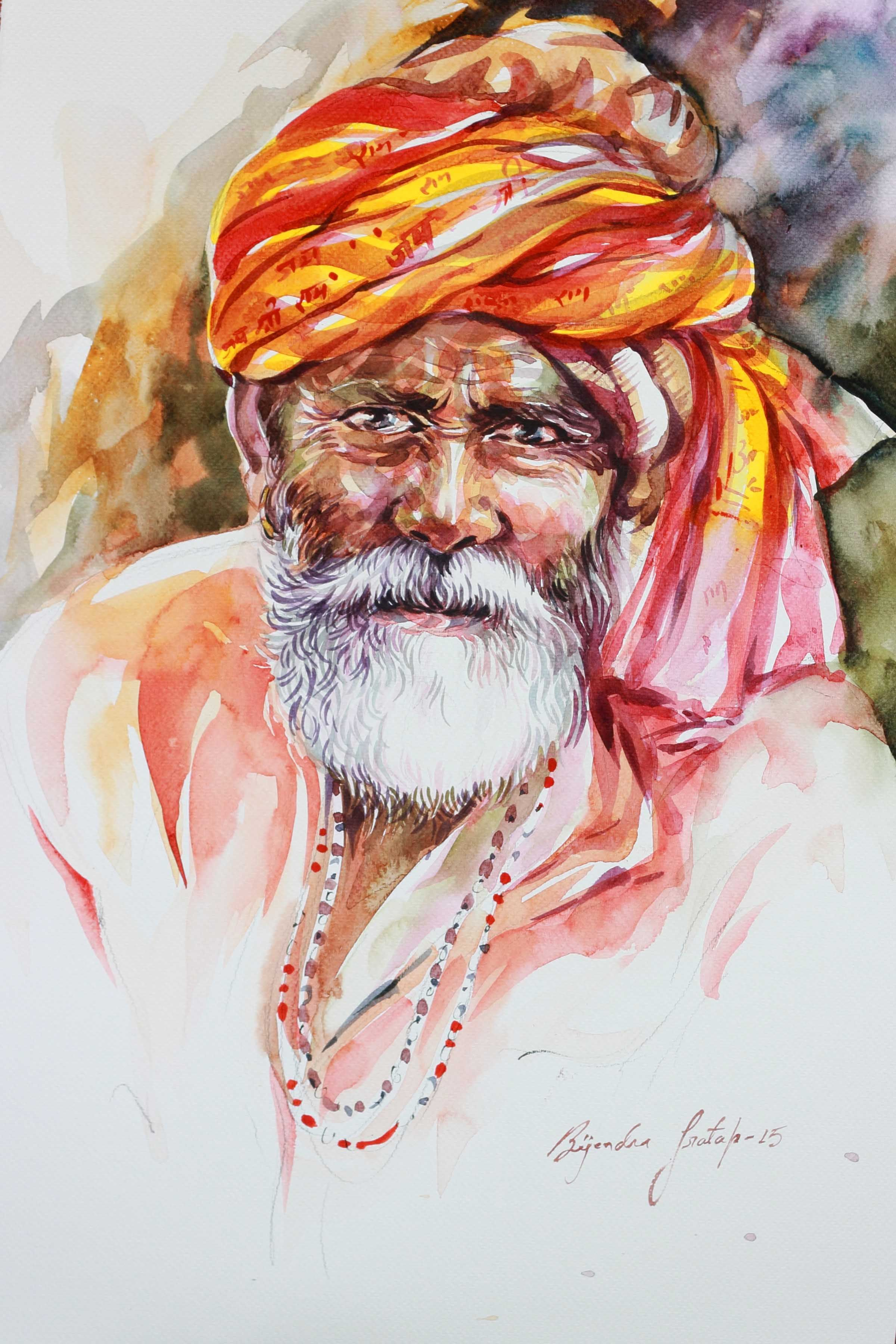 Wrinkles Of Spirituality 2 Indian Art Paintings Indian