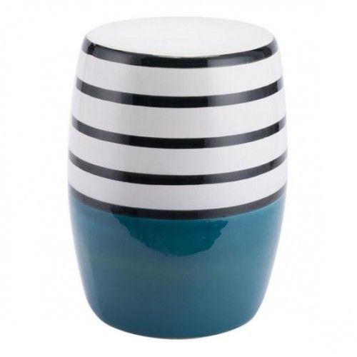 Superb White Black Top Stripe Turquoise Blue Base Ceramic Garden Gmtry Best Dining Table And Chair Ideas Images Gmtryco