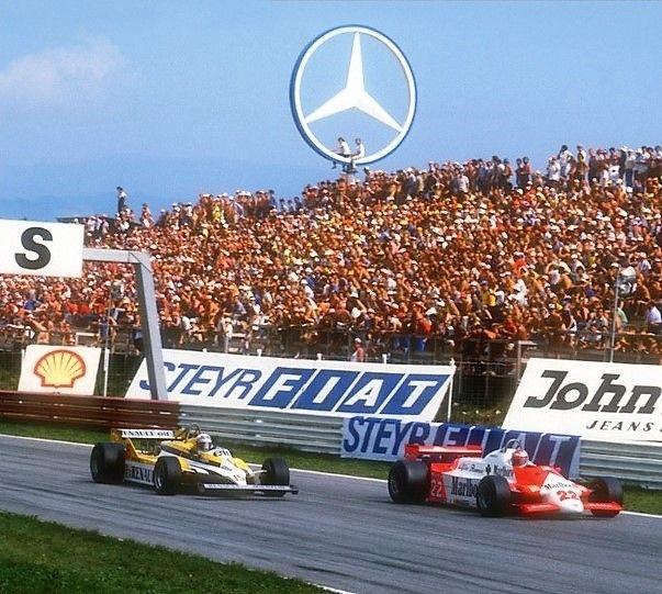 Austrian Grand Prix Österreichring 1981 - Alain Prost (15) Équipe Renault Elf and Mario Andretti (22) Marlboro Team Alfa Romeo