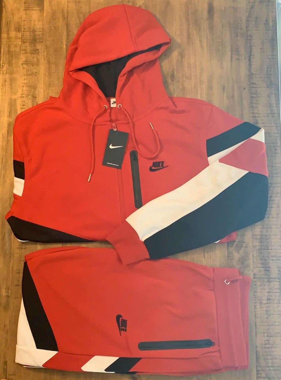 Men's Red, Black, && White, Nike Jogger Set Size Small ...