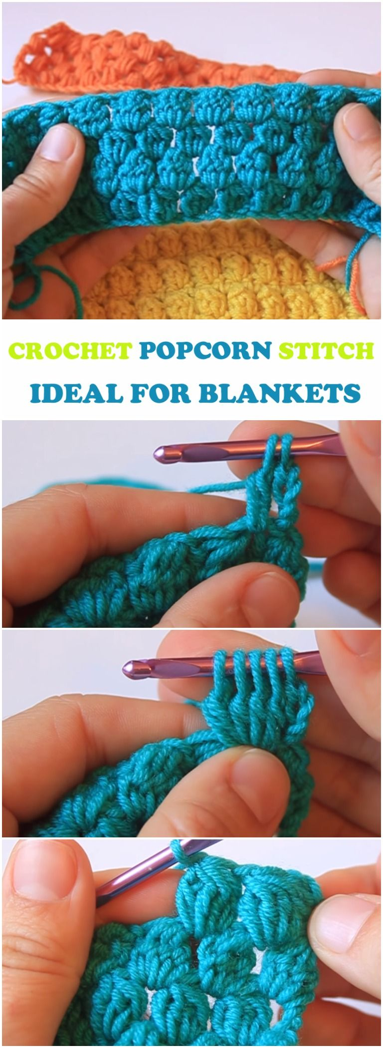 Learn To Crochet Popcorn Stitch Ideal For Blankets | Pinterest ...
