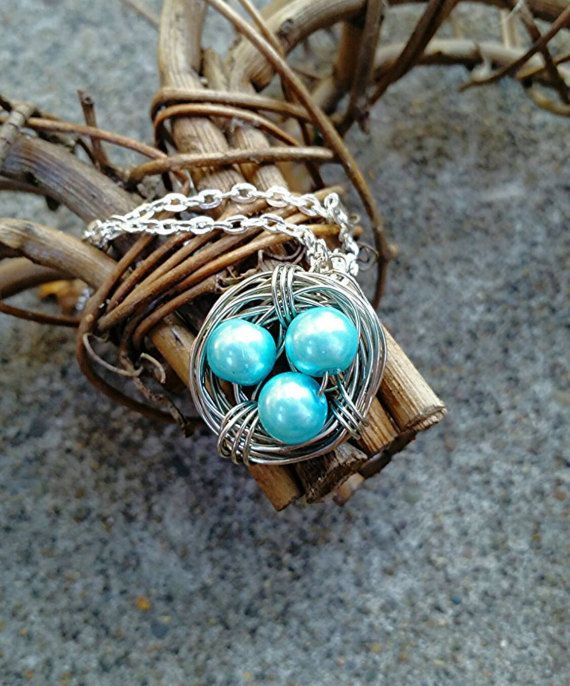 Bird Nest Necklace Personal Jewelry Family by WineAboutJewelry