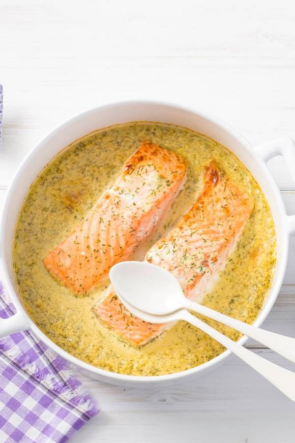 Photo of Homemade honey mustard dill sauce on oven salmon
