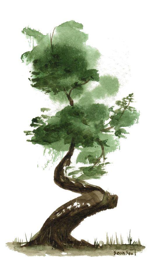Epingle Par Asie16 Sur Bonsai Peinture Zen Dessin Arbre