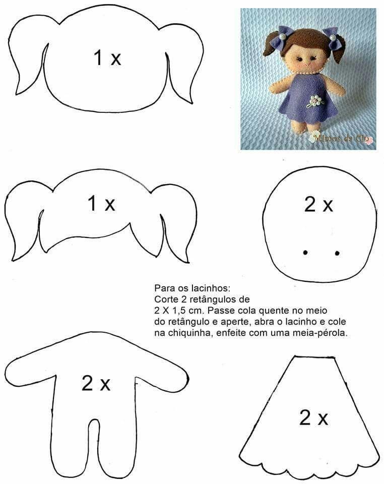 Pin de Ana Elizondo en muñecas | Pinterest | Feltro, Molde y Fieltro