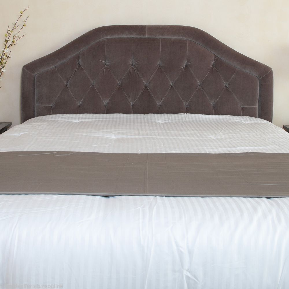 Contemporary Queen Full Grey Suede Headboard W Button Tufted