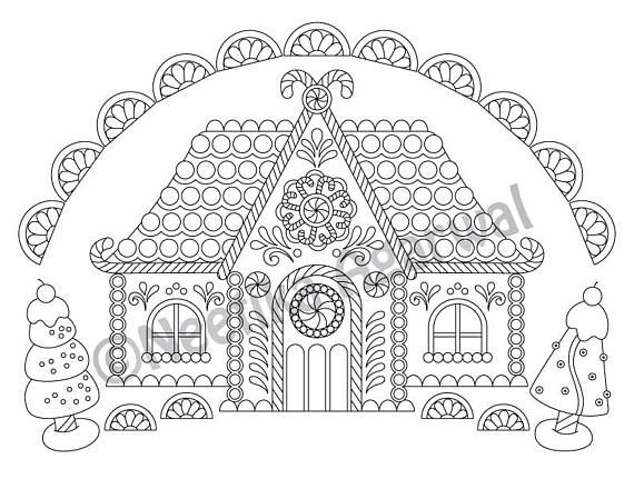 Gingerbread House - Christmas - Adult Coloring Page ...
