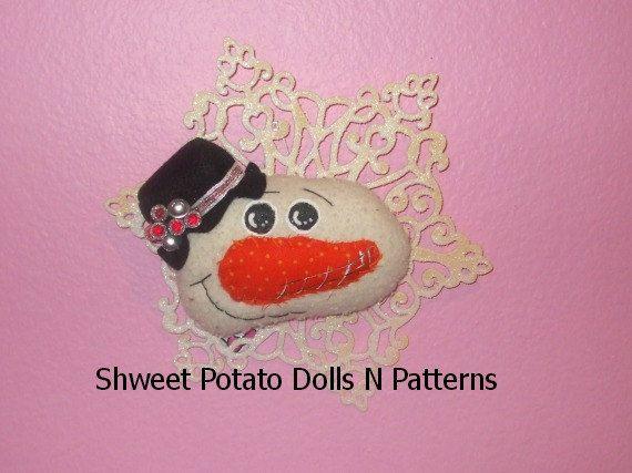 Handmade Snowman Snowflake Wall Door Ornament by shweetpotatodolls