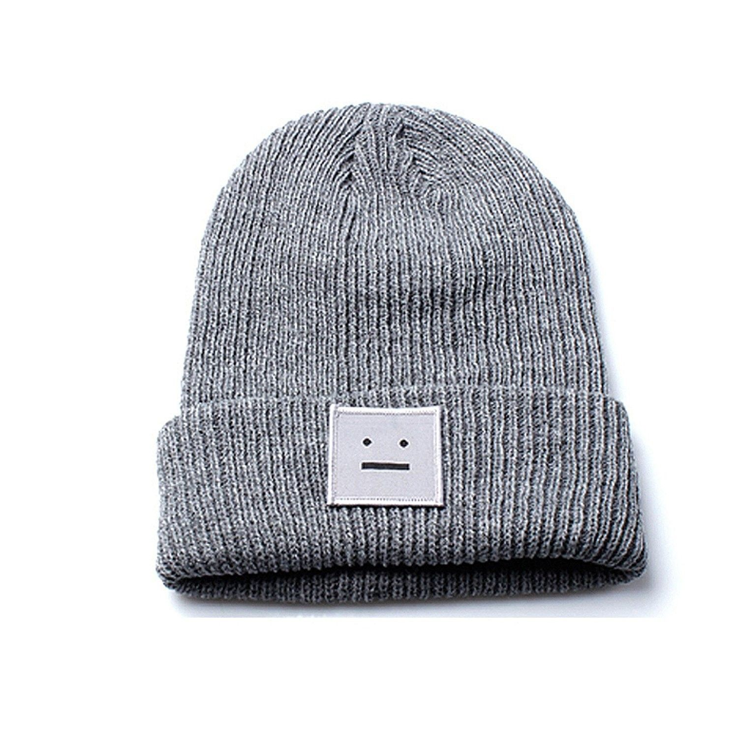 2b2fa1969cc Unisex Grey Beanie Hat with Embroidered Smiley Face Design - CG12O9YL93D -  Hats   Caps