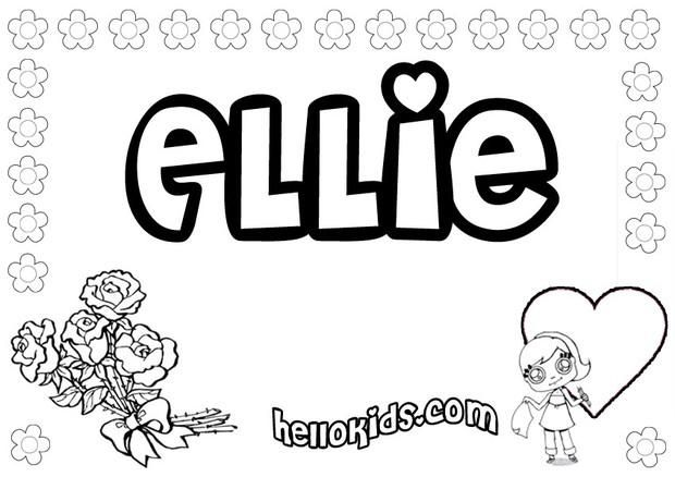 girls name coloring pages ellie girly name to color