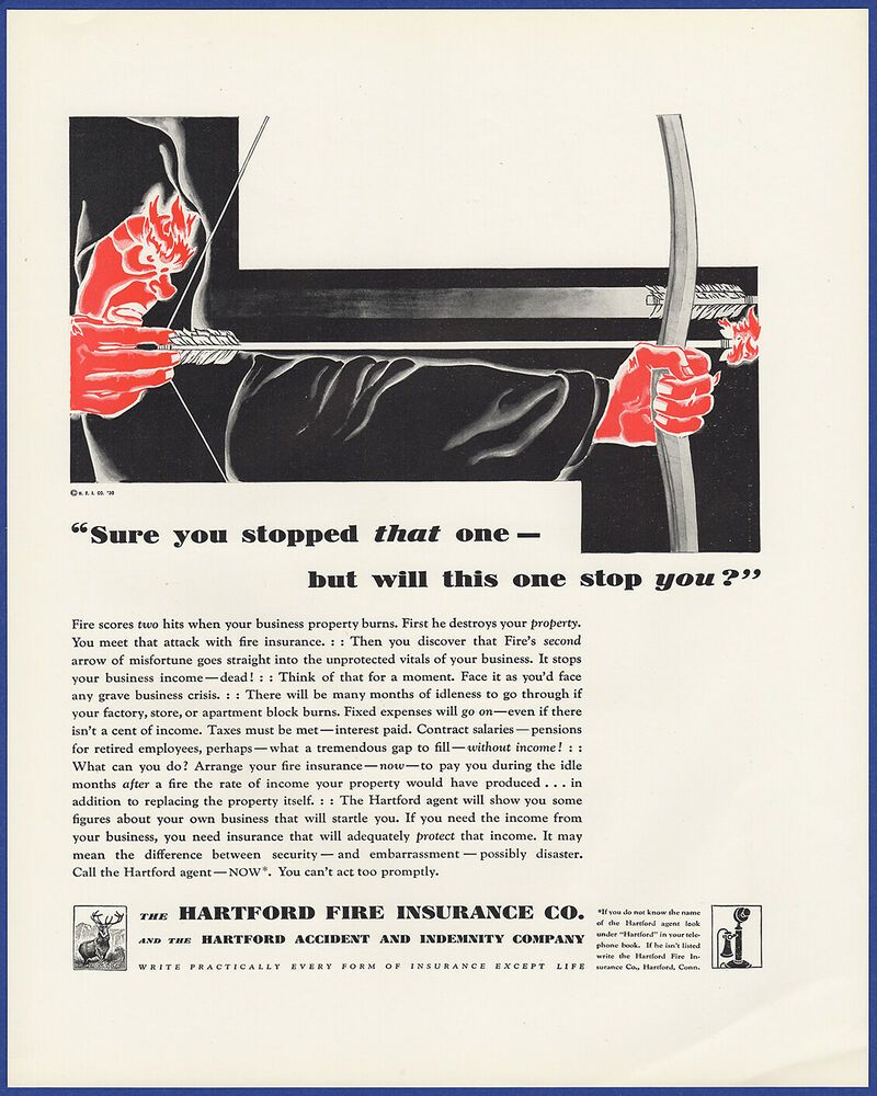 Vintage 1930 HARTFORD Fire Insurance Company Ephemera