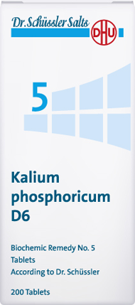 DHU Dr. Schuessler salts - Schüssler salt no 5 - Kalium phosphoricum, Kalium phosphoricum helps to find a balanced state of mind and stabilises the nervous system. It is supportive in the treatment of mental, emotional and physical exhaustion and general states of weakness. It supports the treatment of depressions.