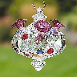 Hand Blown Glass Hummingbird Feeder Garden Glass
