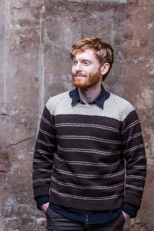 "Bradbury striped raglan pullover by Julie Hoover. Shown in colors ""Pumpernickel"" & ""Fossil"". From Brooklyn Tweed's ""BT Men Volume 2"" Collection. Photographed by Jared Flood. #btmenvolume2 #brooklyntweed #madeinUSA #shelteryarn #loftyarn #bradbury #pullover"