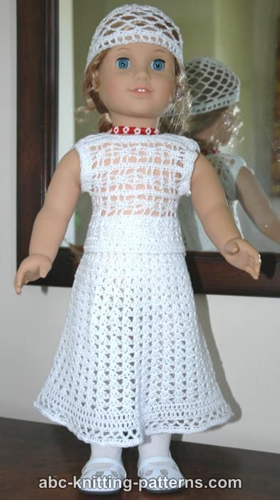 ABC Knitting Patterns - American Girl Doll Lace Skirt | 18\