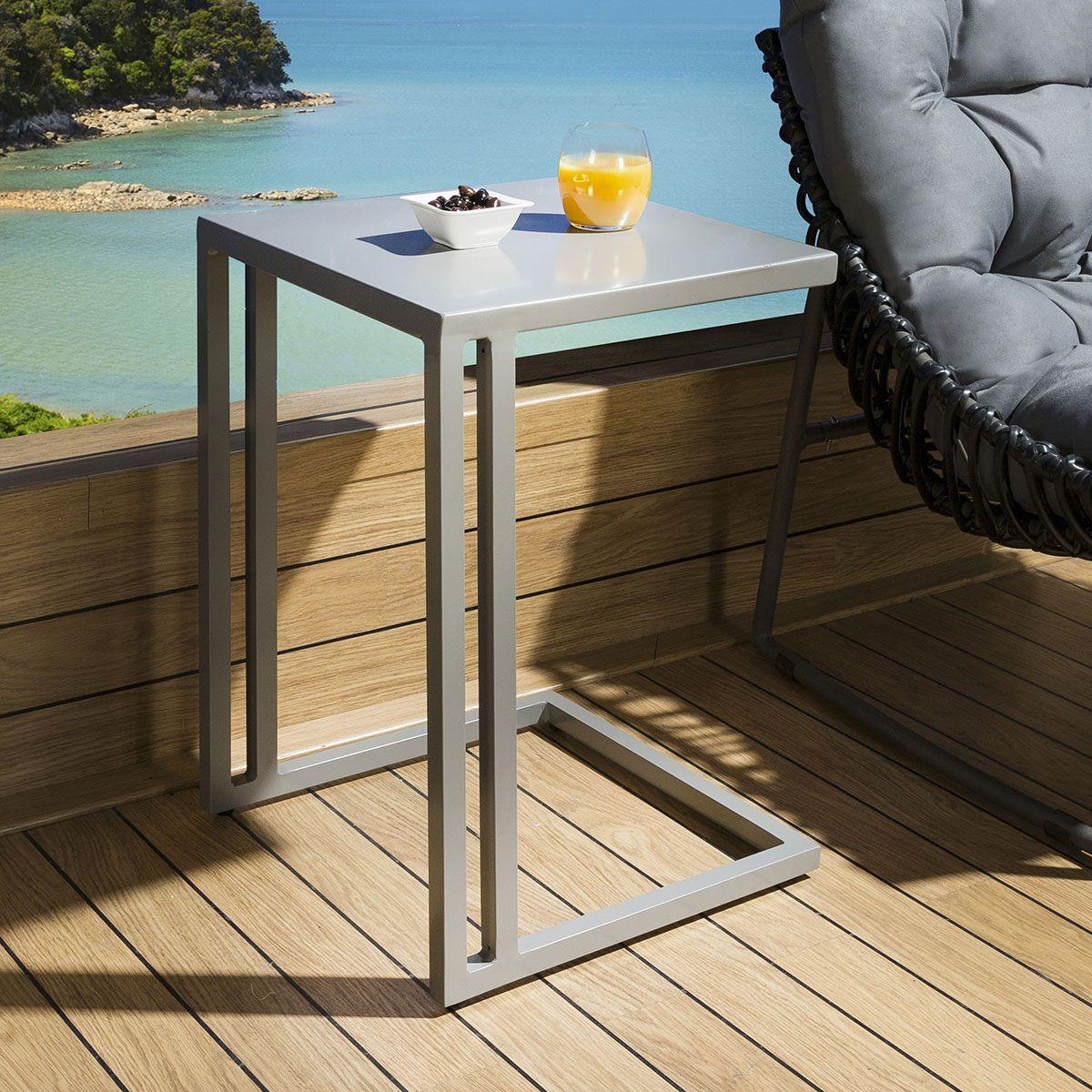 Garden End Table Outdoor Sofa Table Aluminium Grey Rectangular