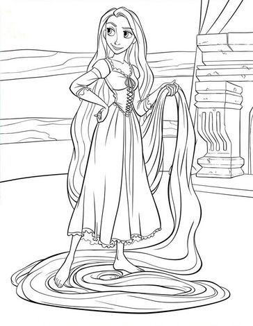 Free Print Your Own Rapunzel Coloring Page Would Be Cute To